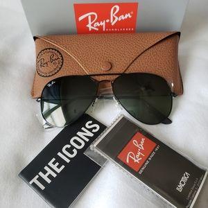 Ray Ban Aviator Sunglasses Black 58mm